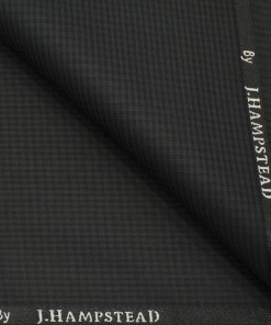 J.Hampstead Men's Polyester Viscose Checks 3.75 Meter Unstitched Suiting Fabric (Dark Grey )