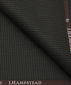 J.Hampstead Men's Polyester Viscose Checks 3.75 Meter Unstitched Suiting Fabric (Dark Brown)