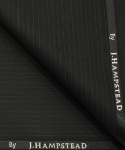 J.Hampstead Men's Polyester Viscose Striped 3.75 Meter Unstitched Suiting Fabric (Black)