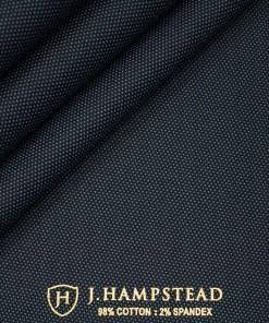 J.Hampstead Men's Cotton Structured  Unstitched Trouser Fabric (Dark Blue)