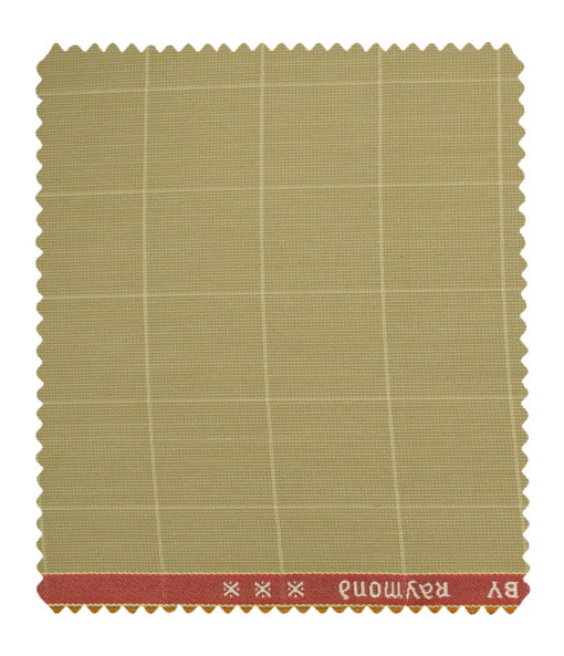 Raymond Men's Polyester Viscose Checks Unstitched Suiting Fabric (Beige)