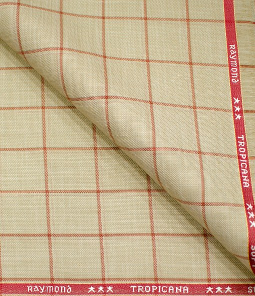 Raymond Men's Polyester Viscose Checks  Unstitched Suiting Fabric (Tan Beige)