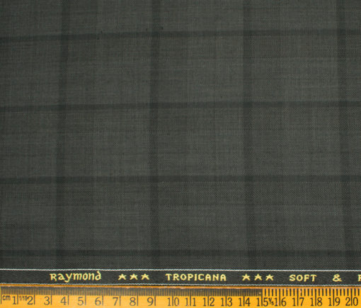Raymond Men's Polyester Viscose Checks Unstitched Suiting Fabric (Dark Grey)