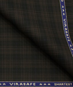 Raymond Men's Polyester Viscose Checks  Unstitched Suiting Fabric (Black & Brown)