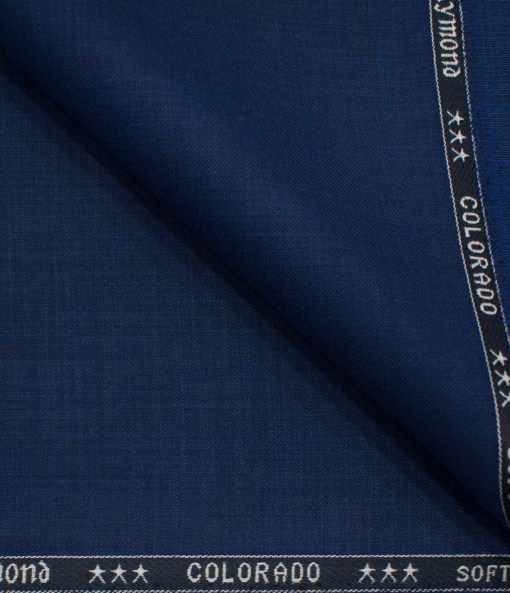 Raymond Men's Polyester Viscose Self Design  Unstitched Suiting Fabric (Royal Blue)