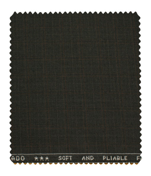 Raymond Men's Polyester Viscose Checks Unstitched Suiting Fabric (Dark Brown)