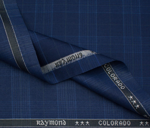 Raymond Men's Polyester Viscose Checks Unstitched Suiting Fabric (Royal Blue)