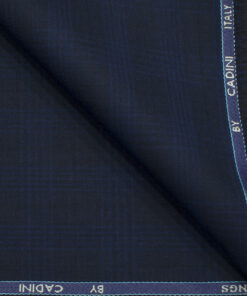 Cadini Men's Polyester Viscose Checks 3.75 Meter Unstitched Suiting Fabric (Dark Blue)