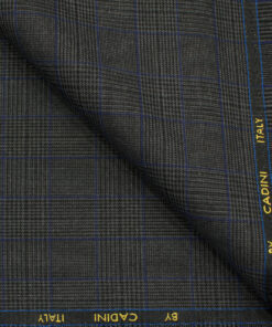 Cadini Men's Polyester Viscose Checks 3.75 Meter Unstitched Suiting Fabric (Grey)