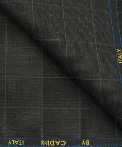 Cadini Men's Polyester Viscose Checks 3.75 Meter Unstitched Suiting Fabric (Dark Grey)