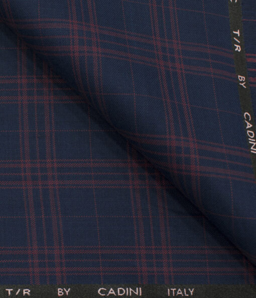 Cadini Men's Polyester Viscose Checks 3.75 Meter Unstitched Suiting Fabric (Royal Blue)