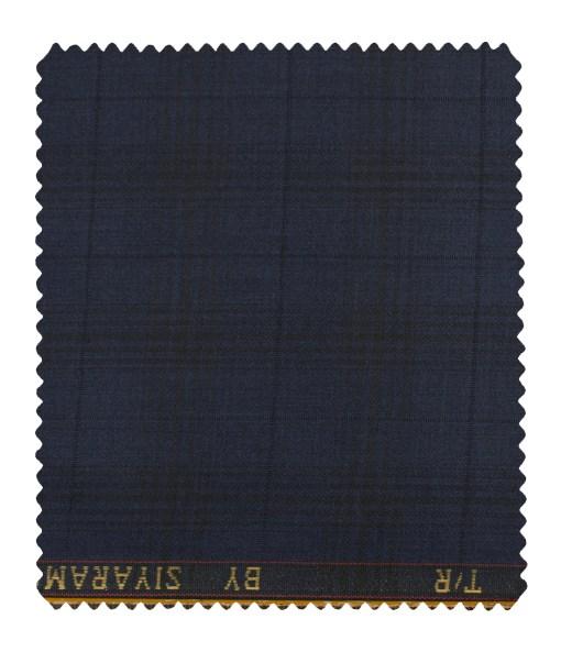 Siyaram's Men's Terry Rayon Checks 3.75 Meter Unstitched Suiting Fabric (Dark Blue)