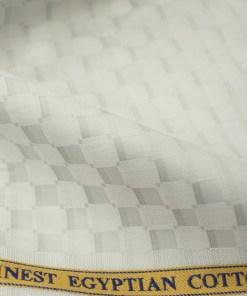 Soktas Men's Giza Cotton Self Design 2 Meter Unstitched Shirting Fabric (Light Grey)