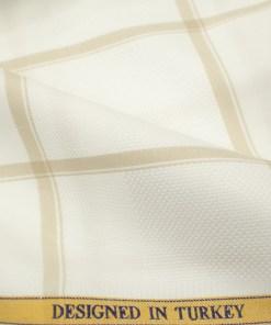 Soktas Men's Giza Cotton Checks 2 Meter Unstitched Shirting Fabric (White & Brown)