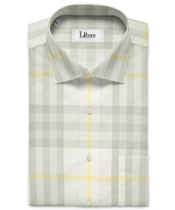 Soktas Men's Giza Cotton Checks 2 Meter Unstitched Shirting Fabric (White & Grey)
