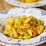 Recept wok met scampi in kerrieroomsaus