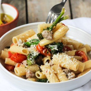 pasta, rigatoni pasta, italian cooking, italian pasta, italian sausage pasta, healthy meals, family dinner, family meals, family pasta, traditional pasta, food blog, the life harvest, easy dinner, simple pasta, simple family meals