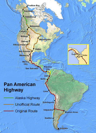 """PanAmericanHwy"" by Created by en:User:Seaweege and released to PD - Own work. Licensed under Copyrighted free use via Commons - https://commons.wikimedia.org/wiki/File:PanAmericanHwy.png#/media/File:PanAmericanHwy.png"