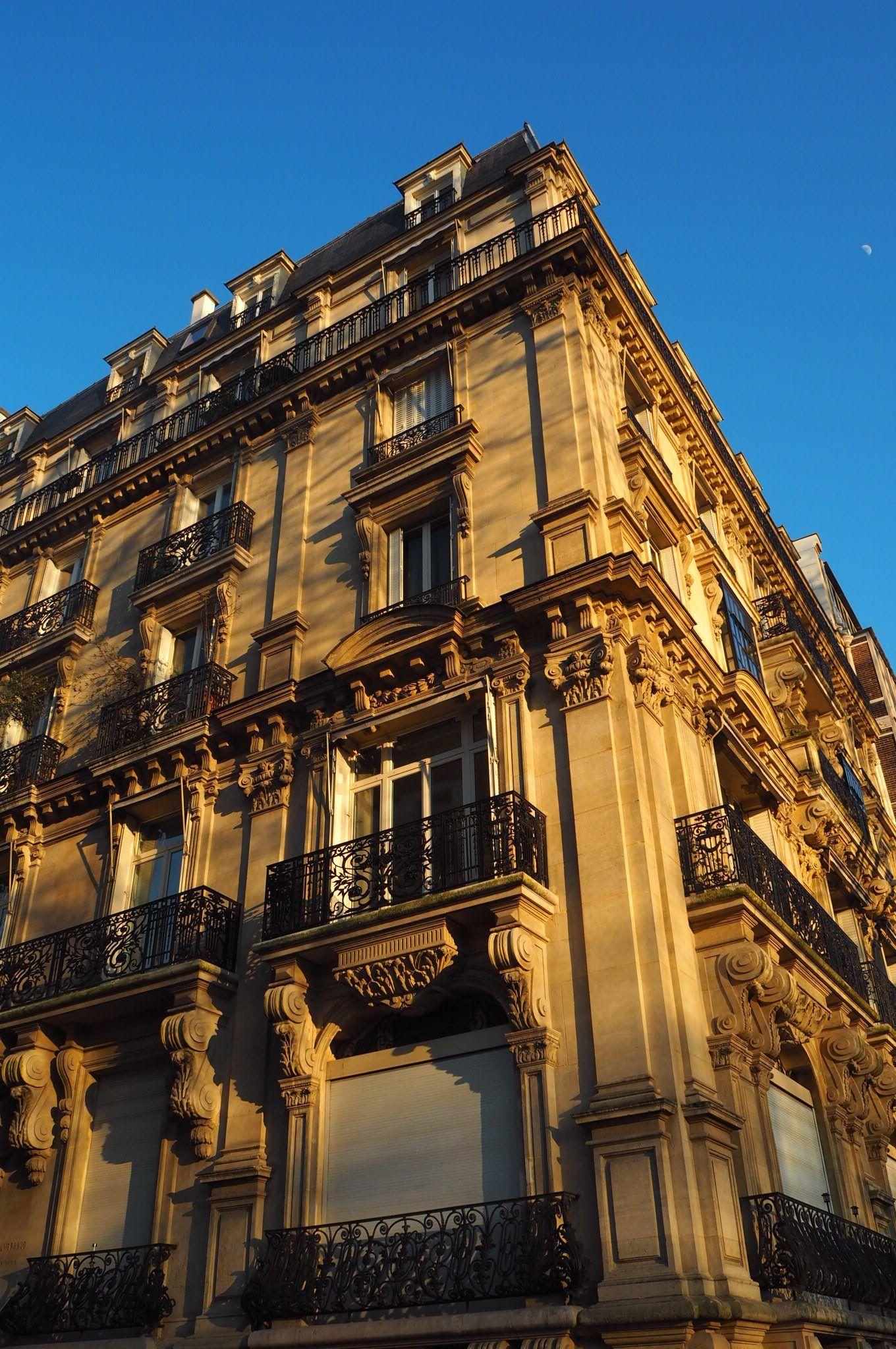 Beautiful architecture in Paris at sunset