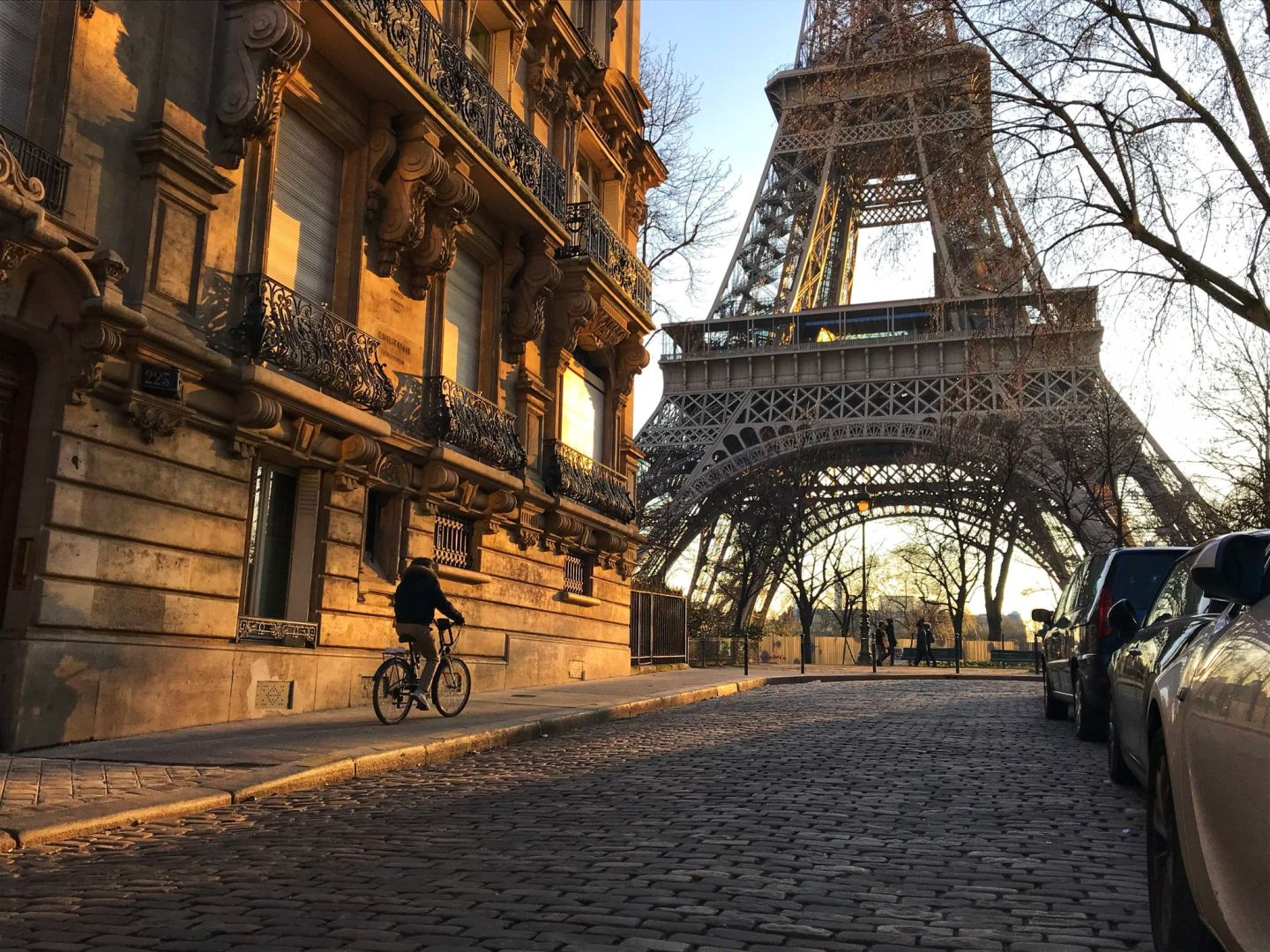 Cycling at Sunset at The Eiffel Tower