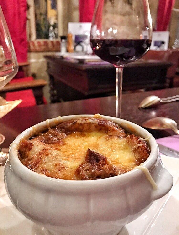 Heartwarming French Onion Soup with Cheese at Au Vieux Paris D'Arcole Paris