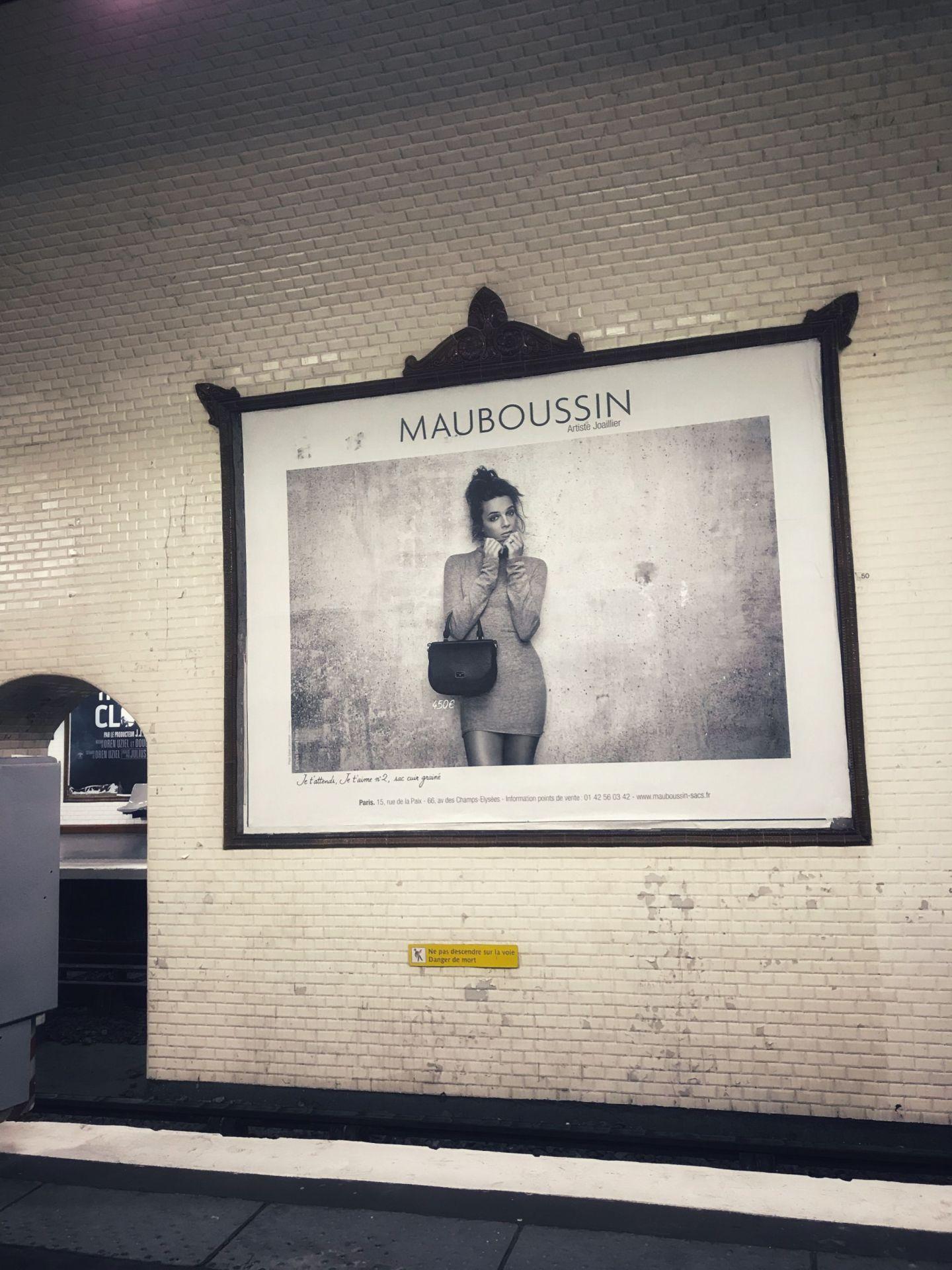 Paris Metro billboard sign