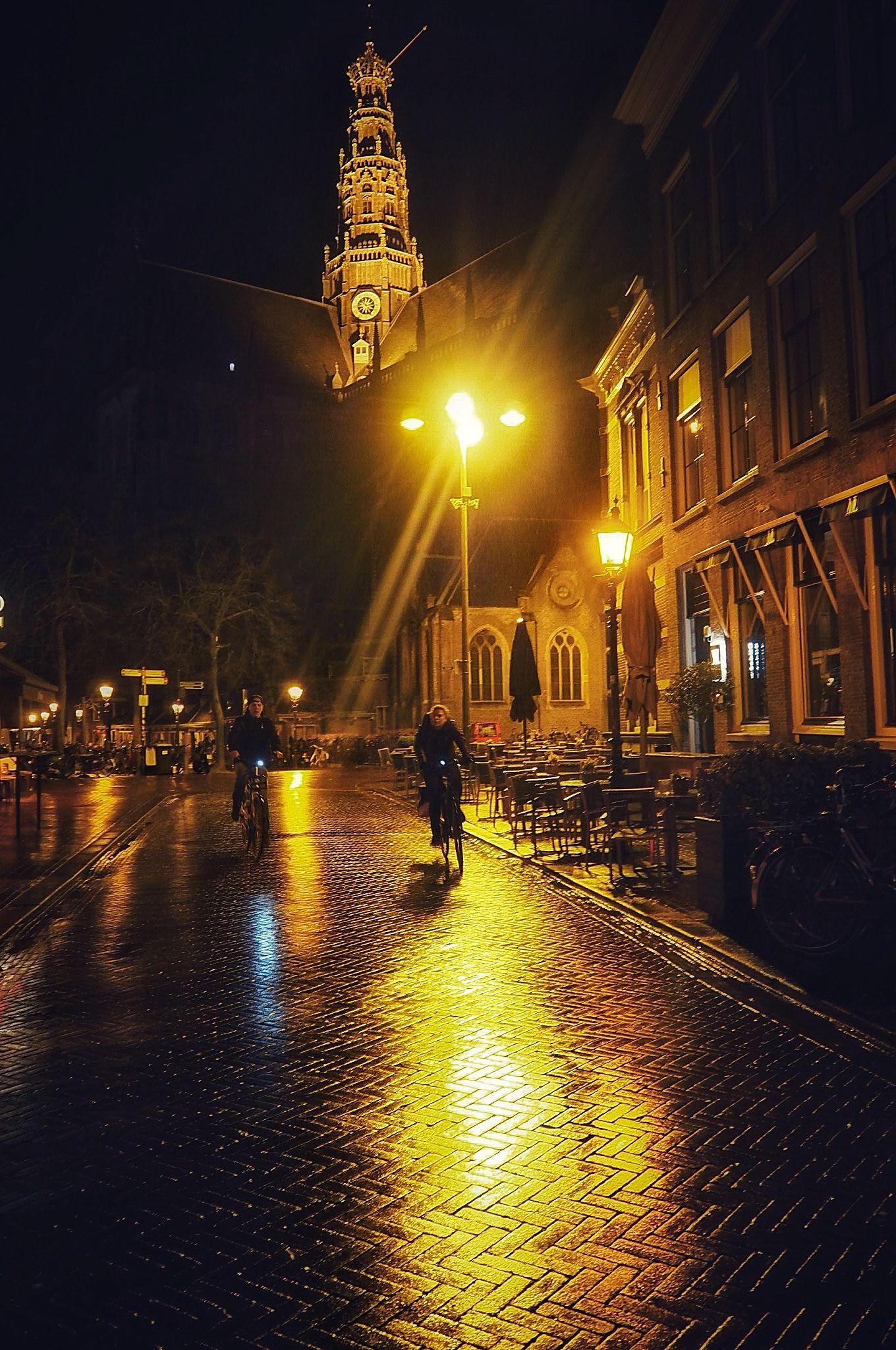 Biking by Grote Kerk Haarlem