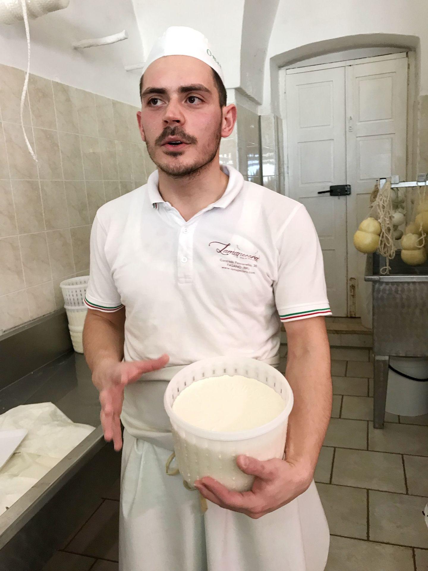 Ricotta cheese made from the liquids of mozzarella