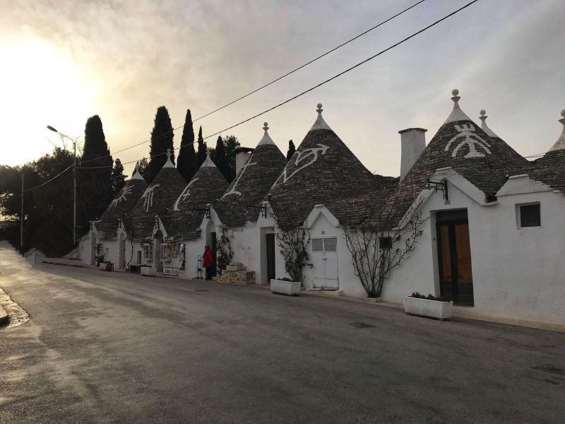 Sunset over the Trulli houses in Alberobello