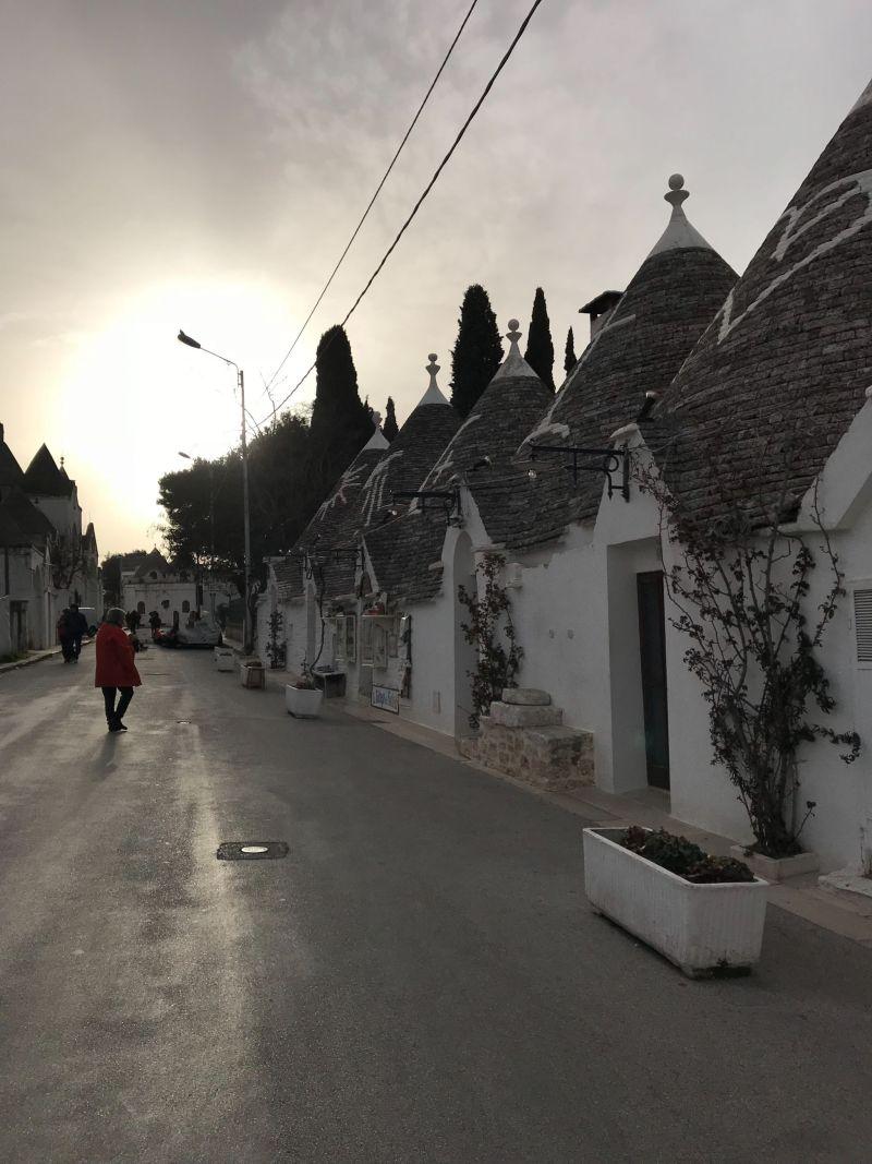 Sunset streets of Alberobello