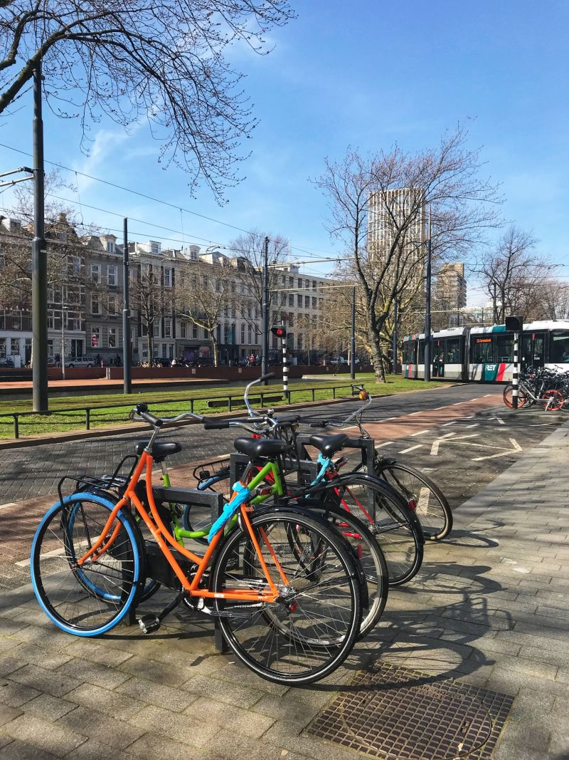 Colourful bikes in Rotterdam