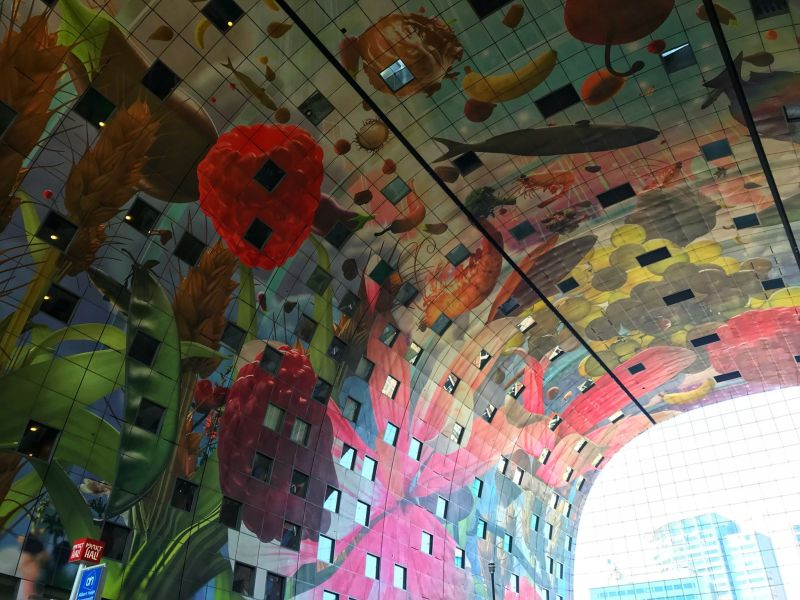Horn of Plenty ceiling art at Markthal by Arno Coenen Rotterdam