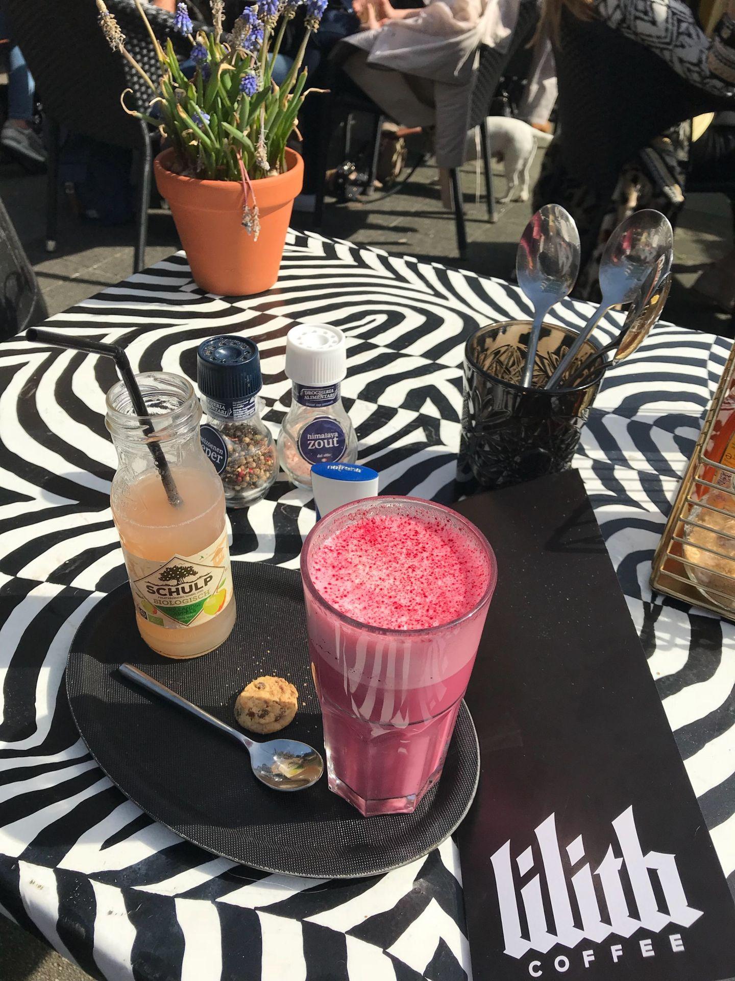pink matcha latte lilith coffee