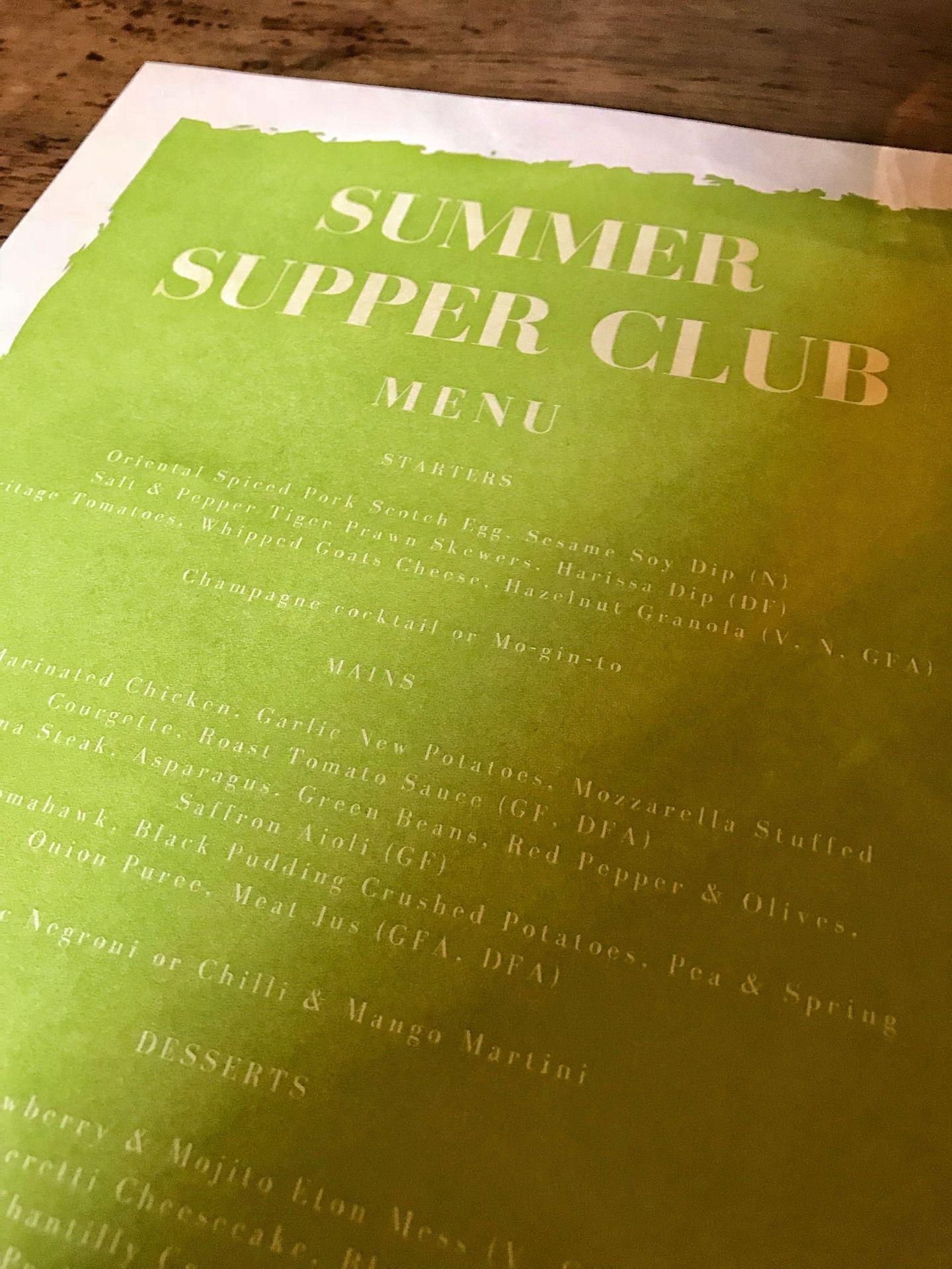 185 Watling Street Summer Supper Club Menu