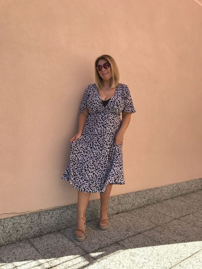 Feeling pretty wearing New Look Lilac Leopard Print Midi Wrap Dress
