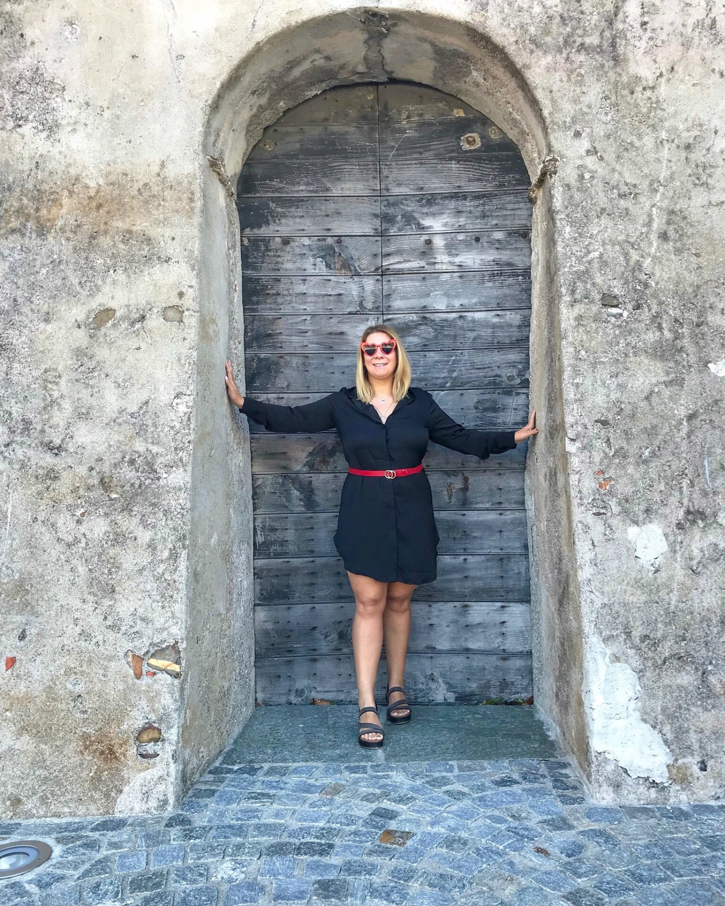 H&M Black Shirt Dress Paired with thin circular red belt