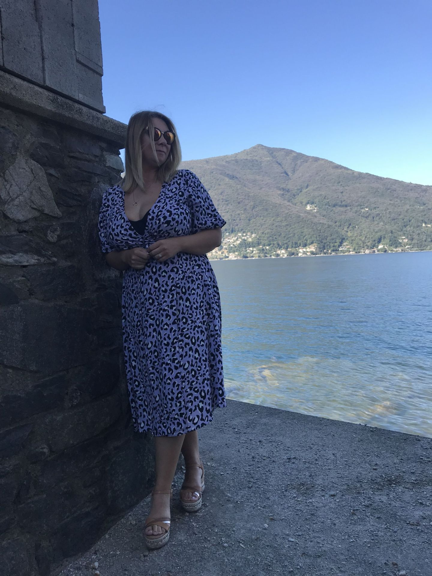 Lakeside views in the lilac animal print dress
