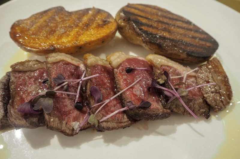 grilled picagna with spicy baked potato