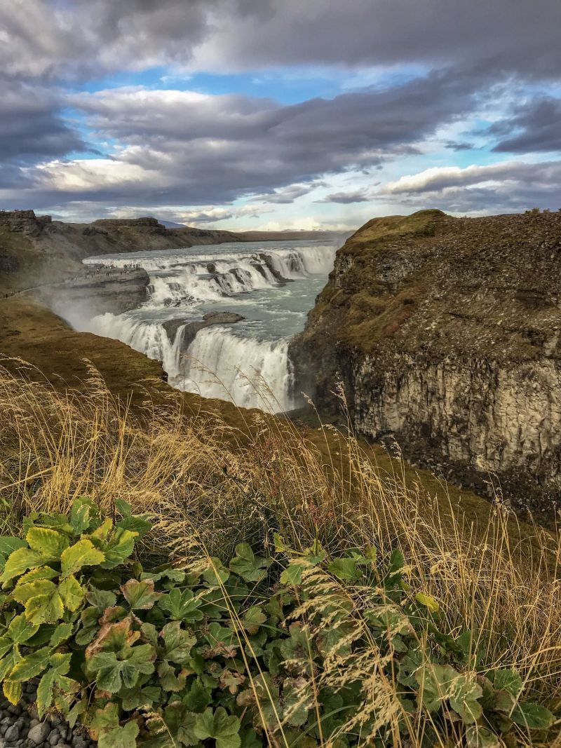 Greenery around Gullfoss Falls Southern Iceland - famous waterfalls in Iceland