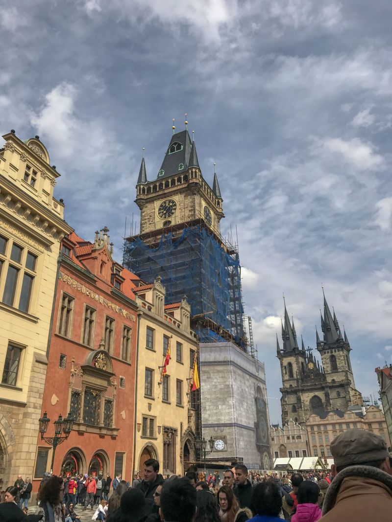 Old town square with out of action astronomical clock