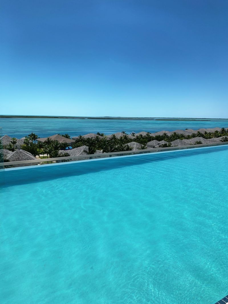Paradise pool views from Infinity Pool Hilton World Resort Bimini Bahamas