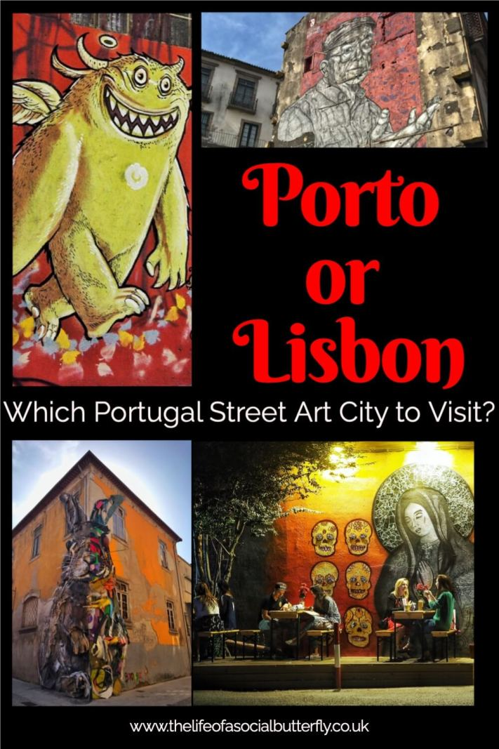 Planning a Portugal city break but can't choose between Lisbon or Porto? Both Porto and Lisbon have incredible street art graffiti! My favourite Portugal Street Artist Bordaloii creates meaningful street art using recycled plastics and waste. Luckily, his street art is in Lisbon and Porto. Let me help you decide which Portugal city to visit in my Porto Vs Lisbon post! #LisbonVsPorto #PortugalThingsToDo
