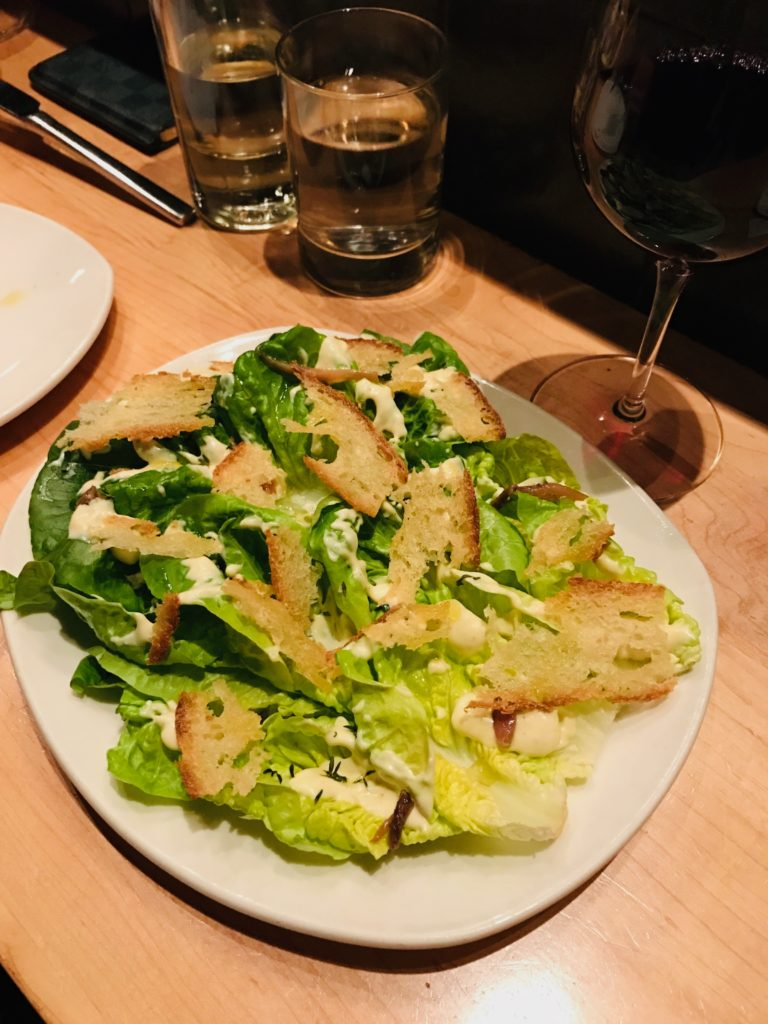 Gem lettuces, lemon & white miso dressing, salt-cured anchovy, croutons, thyme