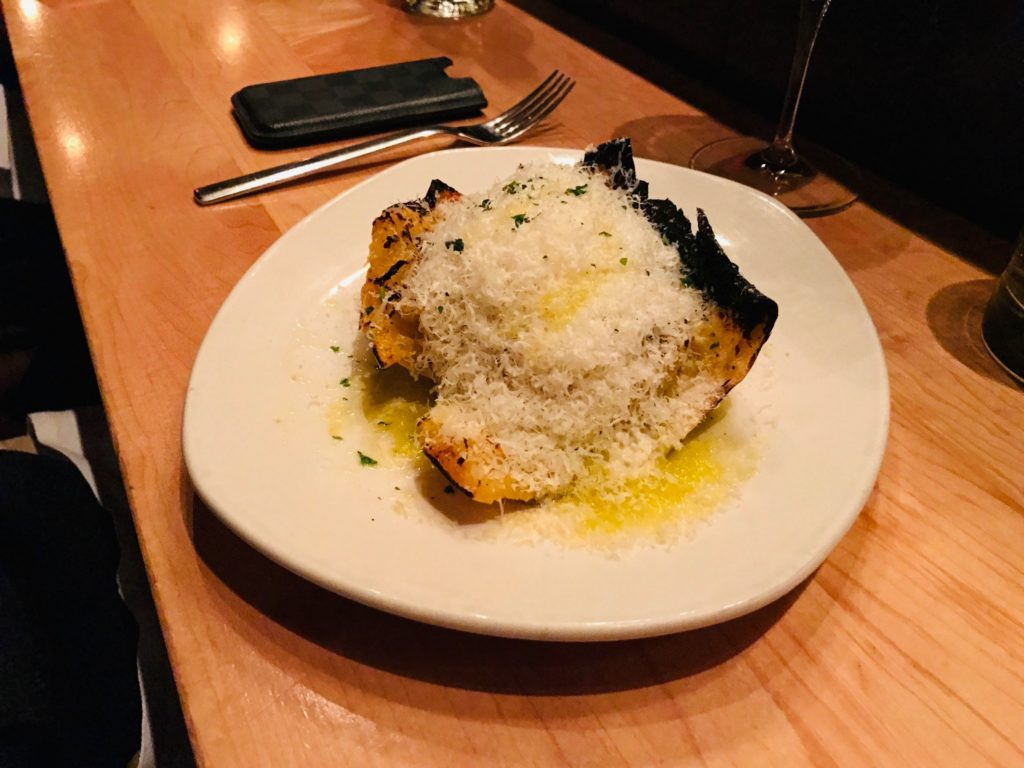 Coal-Roasted Spaghetti Squash, Toasted Garlic, Lemon, Aged Goat Cheese