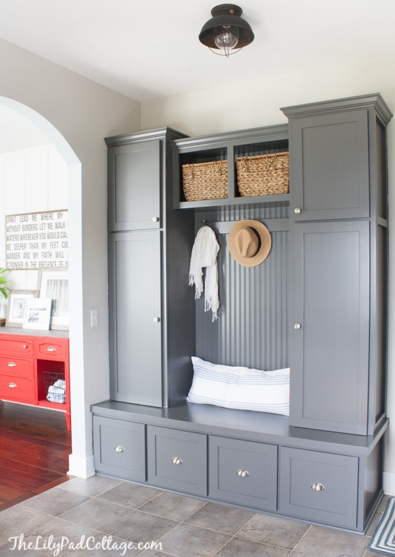 Grey Mudroom Cabinets  The Lilypad Cottage
