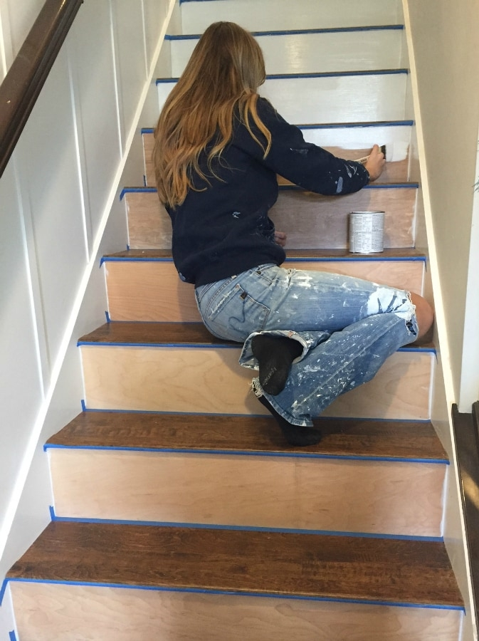 Stairway Makeover Swapping Carpet For Laminate The Lilypad Cottage   Hardwood Floors And Carpet Stairs   Top Step Carpet   Middle   Decorative   Wood   Colour Wall