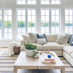 All White Living Room Decor Ideas With Red Couches Lake House Blue And The Lilypad Cottage