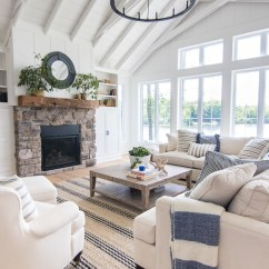 All White Living Room Decor Hanging Chandeliers In Rooms Lake House Blue And The Lilypad Cottage