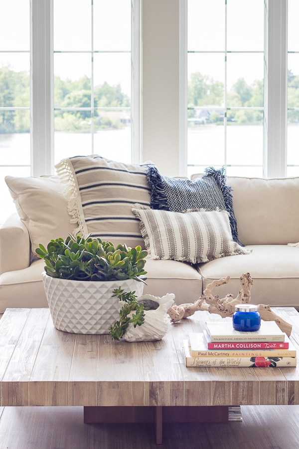 all white living room decor houzz sectional sofas lake house blue and the lilypad cottage