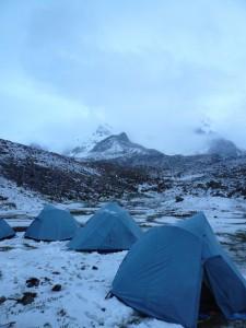 snowy tents